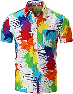 Alician Men Unique Pigment Printing Shirt Beach Blouse Tops Short Sleeve Cotton Shirt