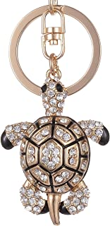 Giftale Tortoise Keychain for Women Cute Bag Charms Crystal Rhinestone Pendant Car Key Ring