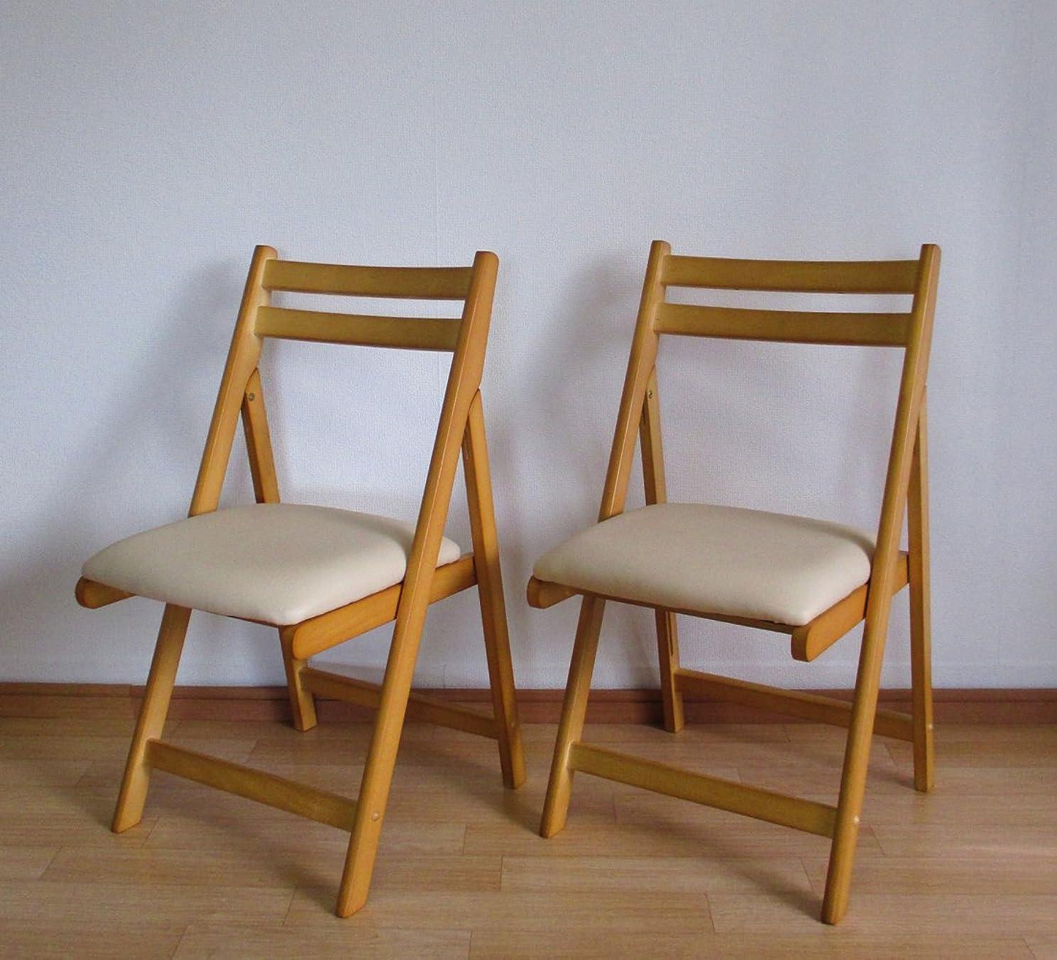 前奏曲暗黙誕生日2脚セット 折りたたみチェア 木製椅子 ダイニングチェアー ナチュラル hd-6220 na-2