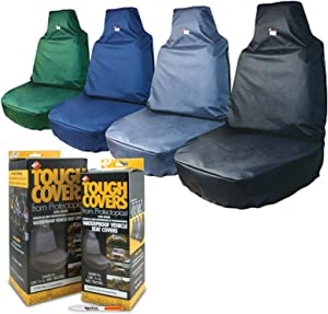 TigerBox TOUGH COVERS Heavy Duty Black Extra Strong Waterproof Universal Front Seat Cover for your Vehicle Antibacterial Pen