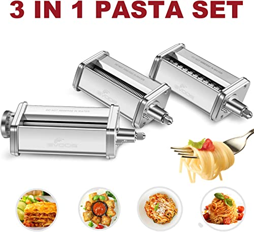 3-Piece Pasta Roller & Cutter Set Attachment for KitchenAid Stand Mixers,Stainless Steel Pasta Maker Accessory by Gvode product image