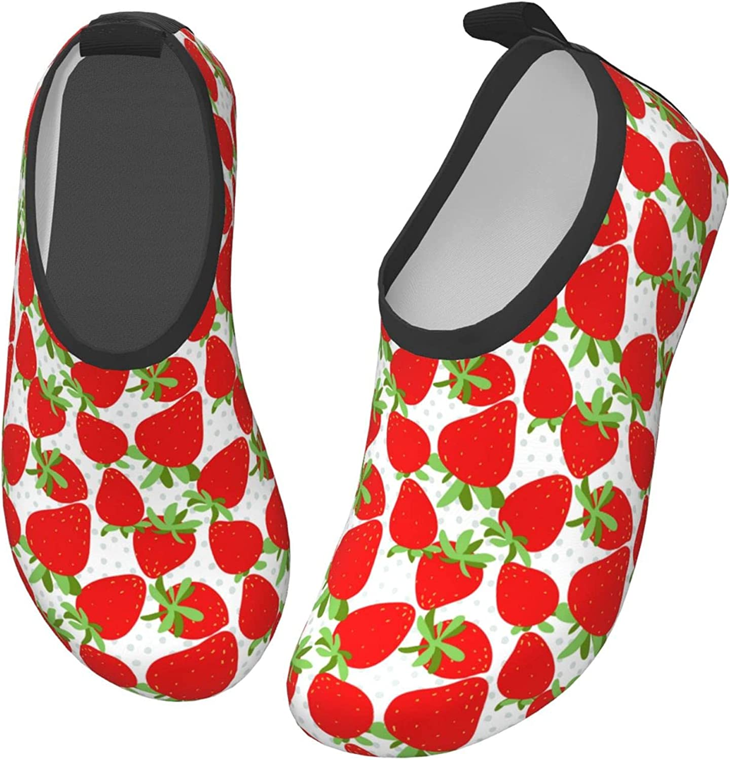 Jedenkuku Cute Strawberry Fruit Cartoon Children's Water Shoes Feel Barefoot for Swimming Beach Boating Surfing Yoga