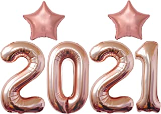 Rose Gold 2021 Balloons for New Years Eve Decorations - Large, Foil, 40 Inch | Rose Gold Stars New Years Balloons for NYE ...