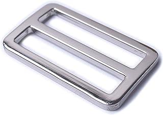 Bobeey 5pcs 1'' Silver Flat Metal Adjuster Sliders,Belt Sliders,Buckle Triglide for Strap Keeper Leathercraft Bag Belt Adj...