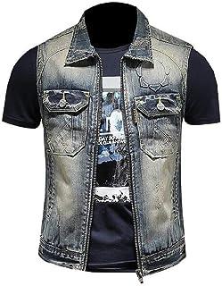 FSSE Men's Denim Vest Embroidery Sleeveless Full-Zip Denim Jacket Coat