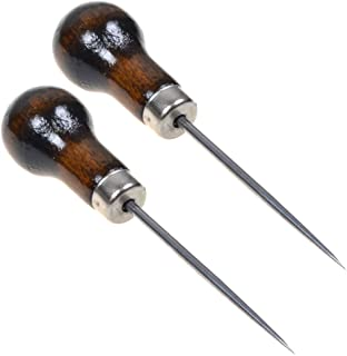 Cosmos Pack of 2 Gourd Shape Leather Craft Cloth Wood Handle Scratch Awl Tool Pin Punching