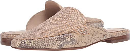 Natural/Wheat Multi Shimmer Linen/Exotic Snake Print Leather