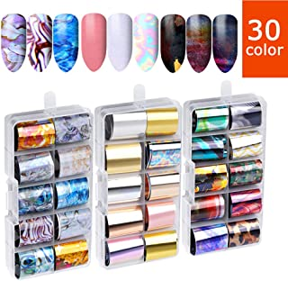 30 Sheets Art Nail Foil Transfer Stickers - Nail Decals Transfer Foil Box, Holographic Flower Nail Art Stickers Tips Wraps Foil Transfer Adhesive Glitters Acrylic, DIY Nail Decoration for women
