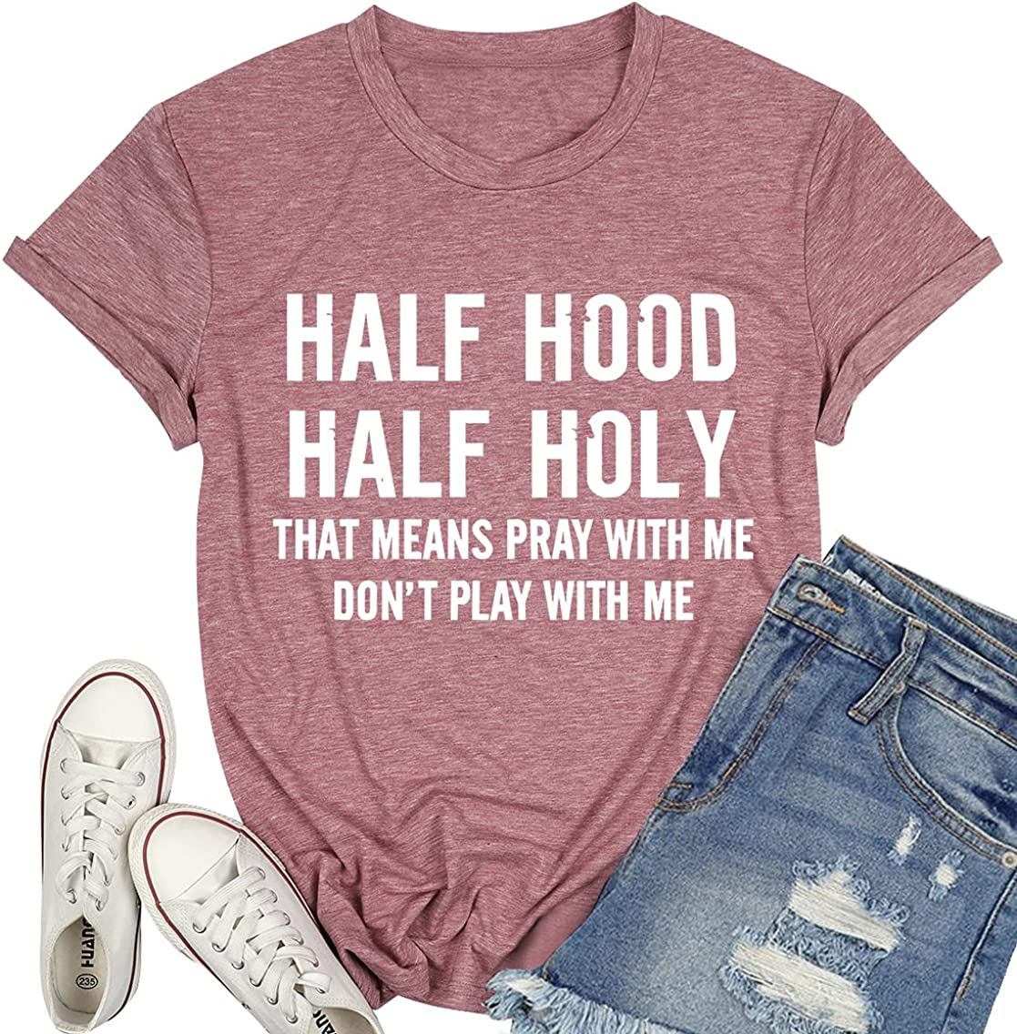 Half Hood Half Holy Tshirt Women's Funny Graphic Shirt Short Sleeve Top Loose Fit Christian Tees with Saying