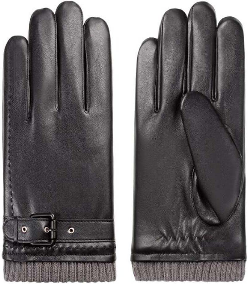 DRAGON SONIC Warm Mittens Plush-Lined Gloves Men's Touchscreen Gloves Leather Driving Gloves