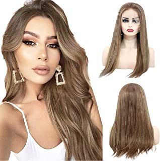 Straight Lace Front Wigs Balayage Ombre Human Hair Wig Pre Plucked Natural Hairline with Baby Hair Glueless Lace Wig 100% Unprocessed Brazilian Virgin Remy Lace Frontal Wig for Black Women 14 Inch