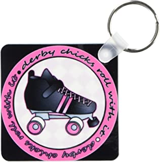 3dRose Derby Chicks Roll With It Pink and Black with Black Roller Skate - Key Chains, 2.25 x 4.5 inches, set of 2 (kc_28507_1)