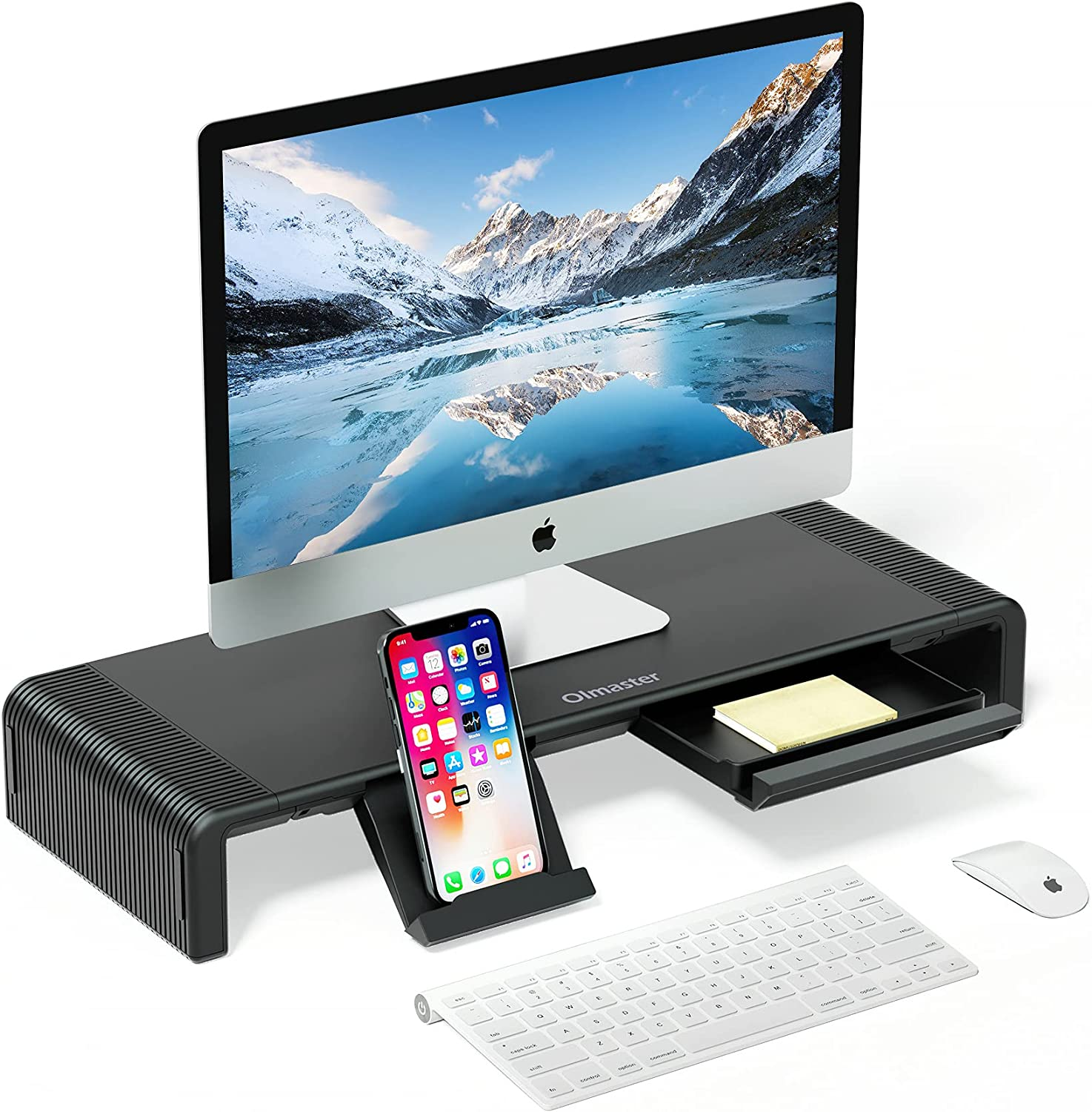 Monitor Stand Riser, Foldable Computer Monitor Riser, Adjustable Height Computer Stand and Storage Drawer & Pen Slot, Phone Stand for Computer, Desktop, Laptop, Save Space (Model A-Black)