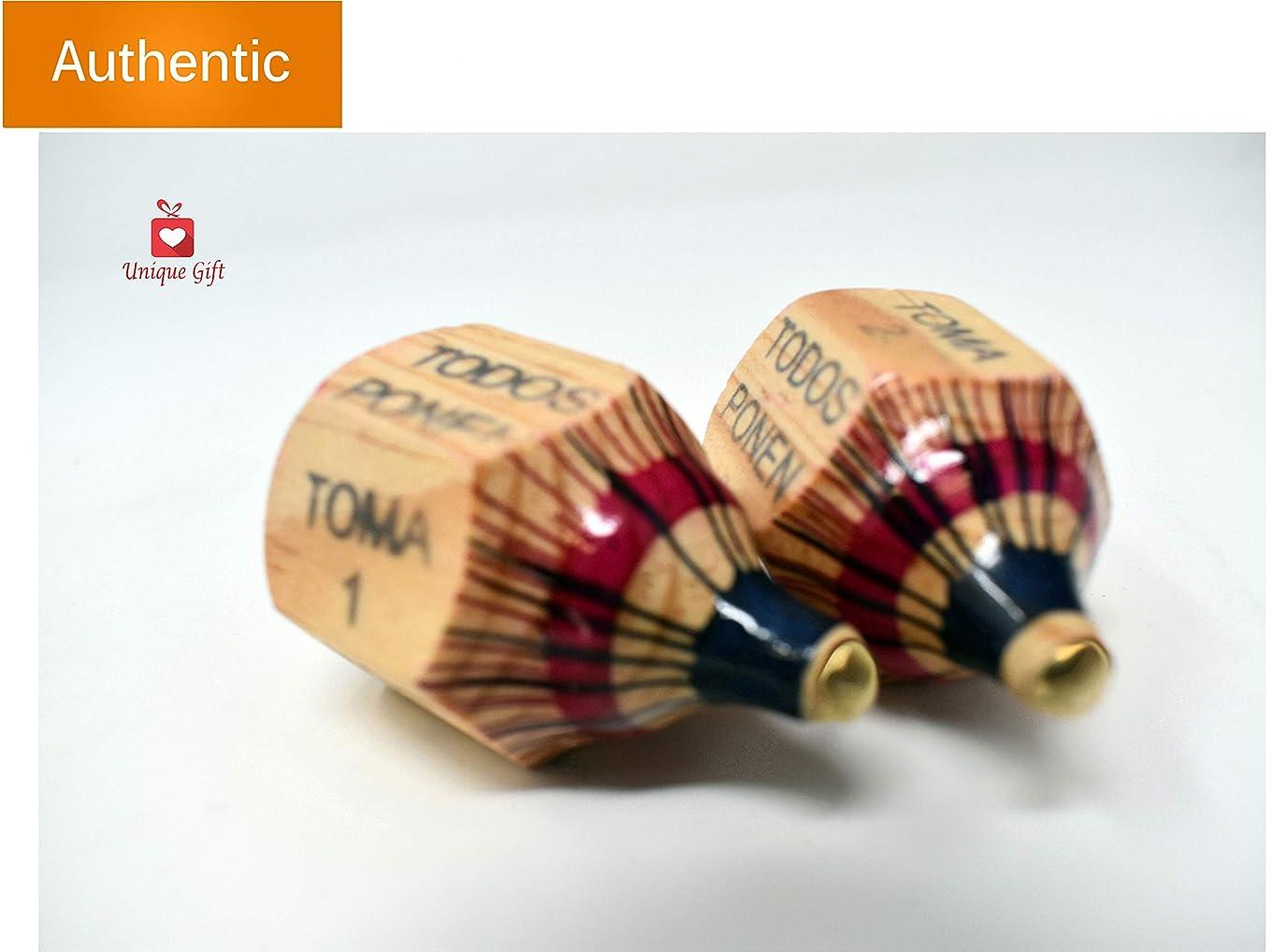 New | Alondra's Imports (TM) Uniquely Designed, Classic Wood Spinning Top Game (Pirinola Toma Todo - Artesania De Madera) Unique Assorted Color at Tip - Premium Quality Finish - Complete Set of 2