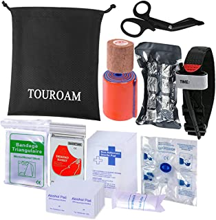 TOUROAM Trauma Medical First Aid Kit Tactical IFAK Molle Survival Bag Military Combat Tourniquet,Israeli Bandage,Emergency Pouch SOS Tool Kit for Kayak Camping Sports