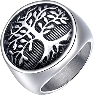 Men's Stainless Steel Tree of Life Ring Vintage Classic Round Signet Biker Band Christmas Wedding Rings