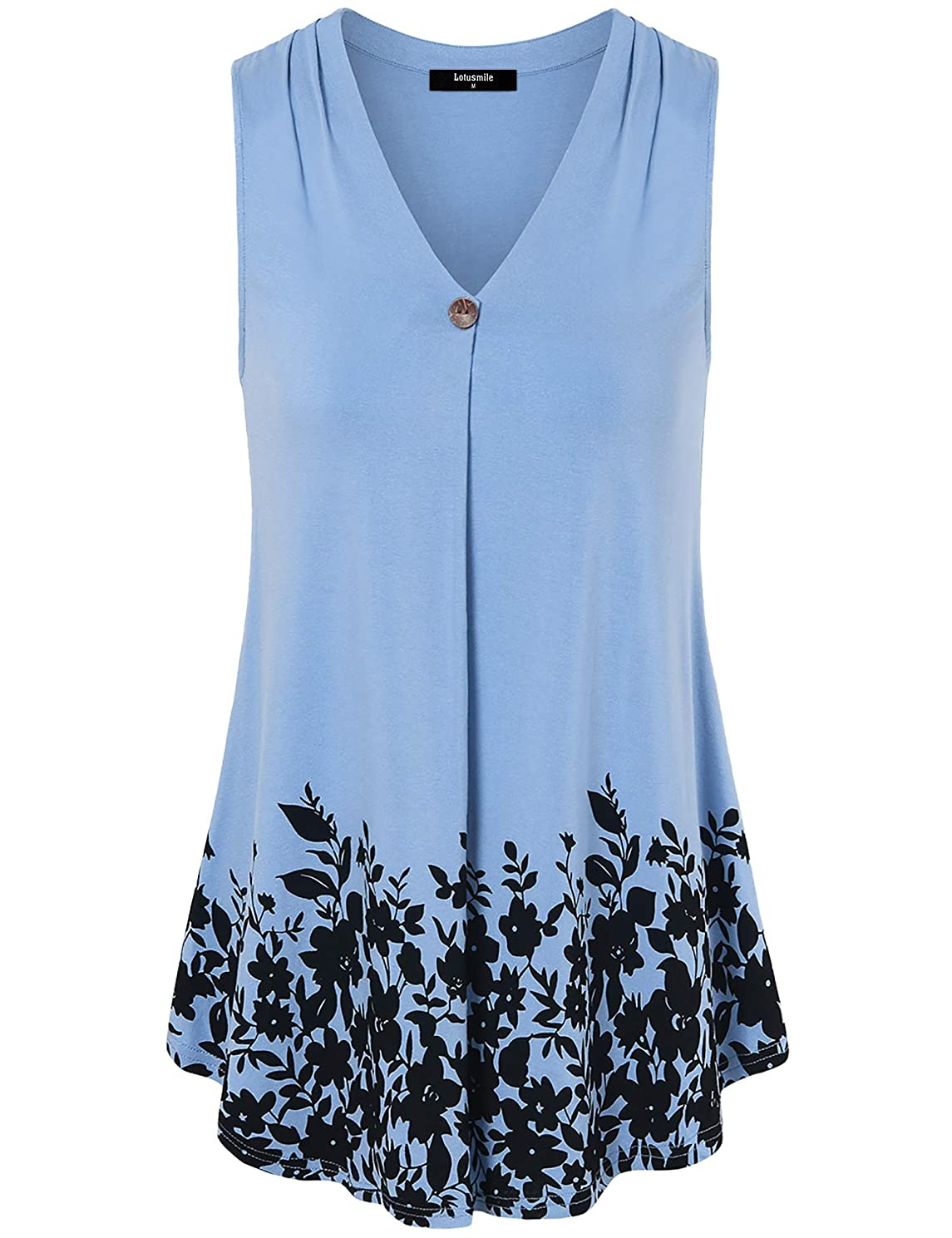 Lotusmile Women Sleeveless Floral Print Tops Casual V Neck A Line Pleated Tunic Shirts