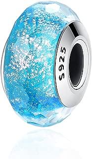 FOREVER QUEEN Murano Glass Charm, 925 Sterling Silver Core European Pattern Gray Shimmer Glass Charm Beads for Women Girls Bracelets & Bangles BJ09073