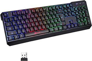 KLIM Chroma Rechargeable Wireless Gaming Keyboard + Slim, Durable, Ergonomic, Quiet, Waterproof, Silent Keys + Backlit Wir...