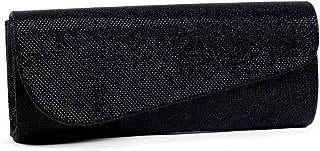 Damara Schräg Abdeckung Shimmert Damen Clutch Abendtasche,Schwarz