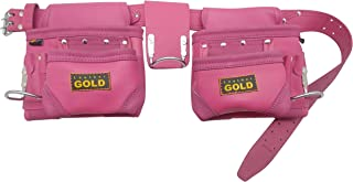 Leather Gold Tool Belt for Women | Womens Pink Tool Belt 3450 | Natural Leather | The 10 Pouches and 3 Hammer Holders are Easily Adjustable | Professional Grade | Durable, Comfortable for All Day Wear