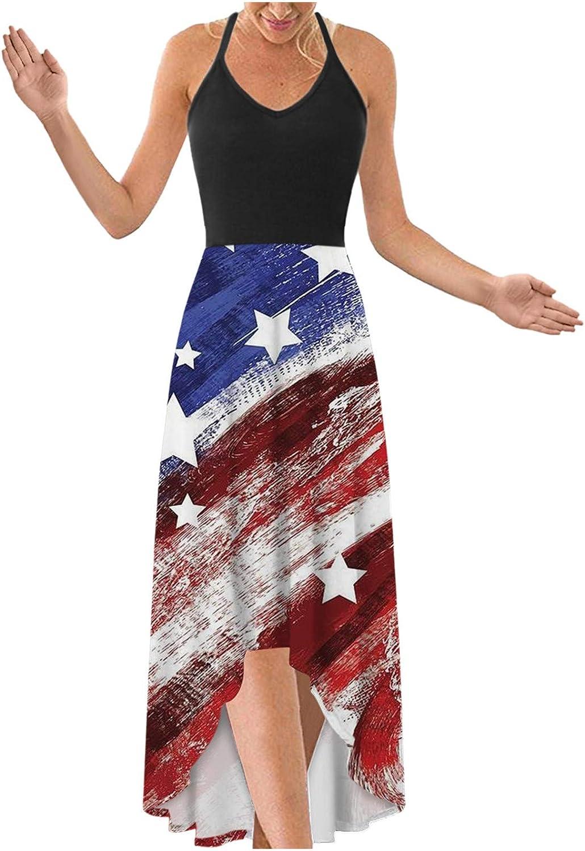 Dress for Women Casual, Sleeveless V-Neck Maxi Dress 4th of July Long Sling Dress American Flag Halter Dresses