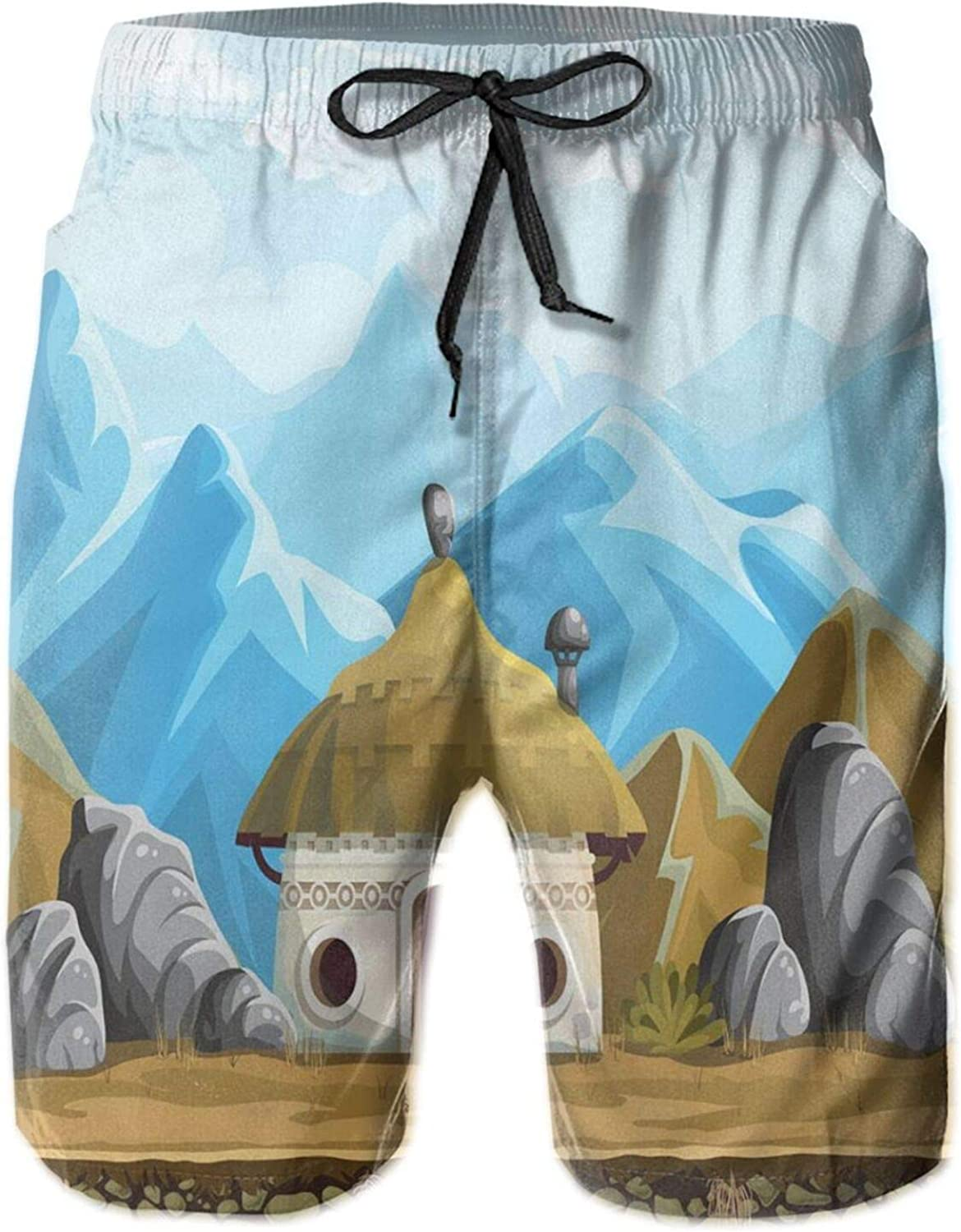 Hut in The Mountains Asian Steppe Architecture with Cartoon Pattern Mens Swim Shorts Casual Workout Short Pants Drawstring Beach Shorts,XXL