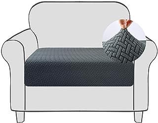Qishare Funda de cojín para sofá Funda elástica para Asiento de sofá Funda Protectora con Fondo elástico Lavable Fundas de cojín de sillón universales súper Suaves (Gris, 1)