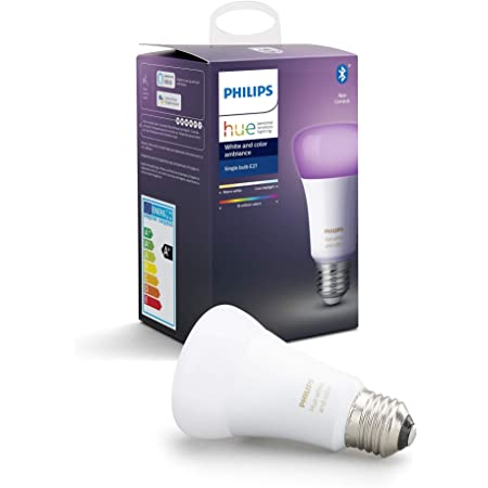 Philips Hue Bombilla Inteligente LED E27, con Bluetooth, Luz Blanca y Color, Compatible con Alexa y Google Home