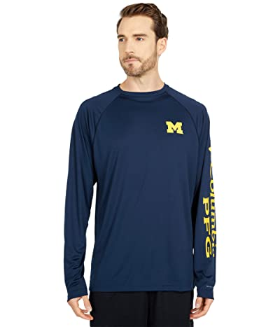 Columbia College Michigan Wolverines Terminal Tackletm Long Sleeve Shirt (Collegiate Navy/Collegiate Yellow) Men