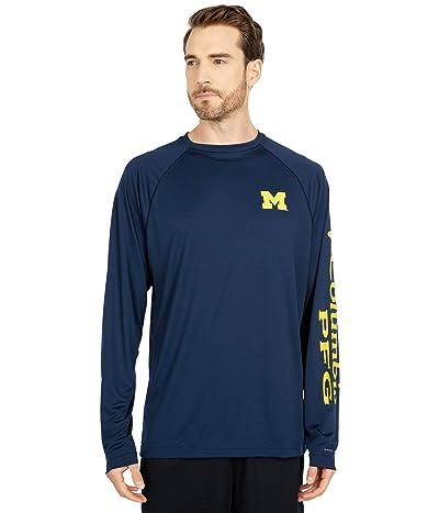 Columbia College Michigan Wolverines Terminal Tackle Long Sleeve Shirt (Collegiate Navy/Collegiate Yellow) Men
