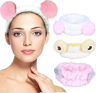 YiyiLai 3 pack Spa Headbands for Women, Fluffy Headband for Washing Face, Elastic Bowknot Hair Bands, Coral Fleece Head Ba...