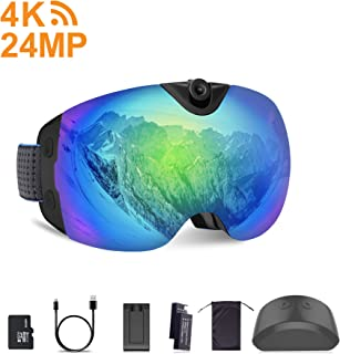 OhO 4K WiFi Ultra HD Action Camera Ski Goggles with 24MP and 140 Degree Adjusted Camera Angle Up and Down, Low Temperature Working Battery, Anti Fog and UV400 Protection Ski Lens with 32GB Memory