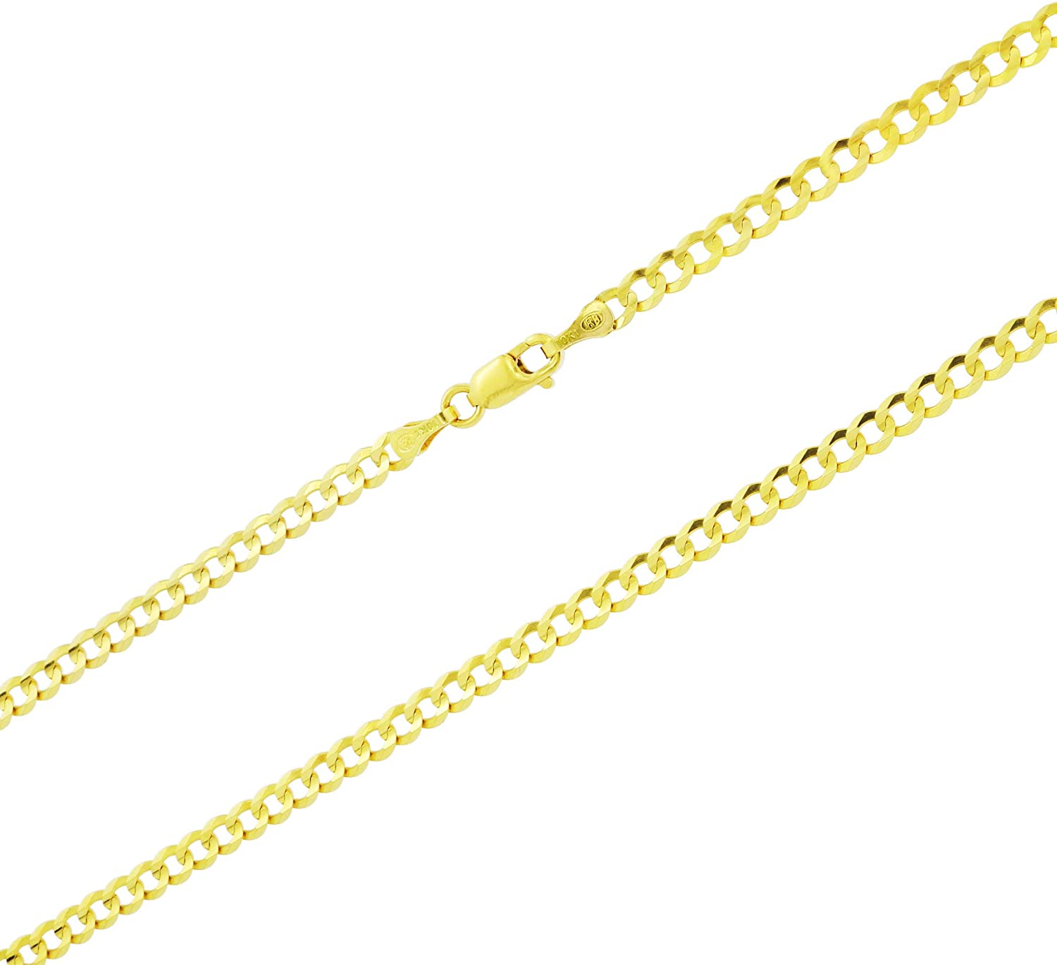 Nuragold 10k Yellow Gold 3mm Solid Cuban Curb Link Chain Pendant Necklace, Mens Womens Lobster Lock 16