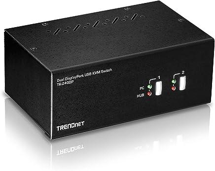 $204 Get TRENDnet 2-Port Dual Monitor DisplayPort KVM Switch with Audio, 2-Port USB 2.0 Hub, 4K UHD Resolutions Up to 3840 X 2160, TK-240DP