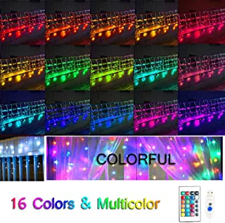 Oycbuzo 16 Color Changing Window Curtain Lights,USB Powered LED Icicle Fairy String Lights with Remote Control, Twinkle Lights for Bedroom Parties,Weddings,Wall Decorations(Multi-Color)