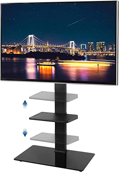 Rfiver Swivel Floor TV Stand With Universal Mount For Most 32 65 Plasma LCD LED Flat Or Curved Screen TVs Tempered Glass Base And Adjustable Component Shelf For Media Storage Black TF2001