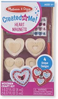 Melissa & Doug Created By Me Wooden Heart Magnets Craft Kit - 4 Designs, 4 Paints, Stickers, Glitter Glue