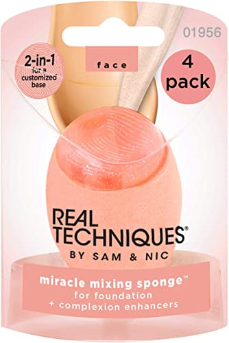 Real Techniques Miracle Mixing Makeup Sponge Blender, Vegan Beauty Tools With Silicone Applicator for Flawless Finish...