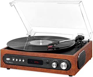 Victrola All-in-1 Bluetooth Record Player with Built in Speakers and 3-Speed Turntable Mahogany (VTA-65-MAH)