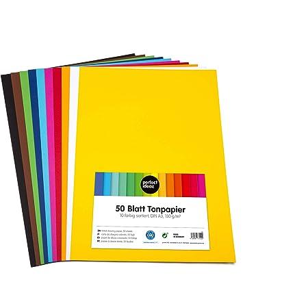 perfect ideaz 50feuilles de Cartonette A3, Papier à dessin, teinté dans la masse, en 10coloris différents, grammage 130g/m², Feuilles de bricolage d'excellente qualité