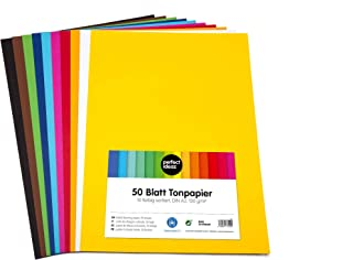 perfect ideaz 50feuilles de Cartonette A3, Papier à dessin, teinté dans la masse, en 10coloris différents, grammage 130...
