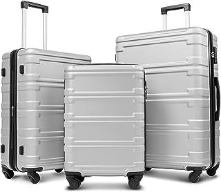 "Merax Luggage Sets 3 Pcs Spinner Suitcase Expandable Hardshell Lightweight ABS Suitcase 20""24""28"""