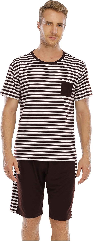 GUBIDIAO Men's Pajama Set Summer Short Sleeve Sleepwear Stripped Lounge Sets 2 Piece Pjs Nightwear Sleep Top and Shorts