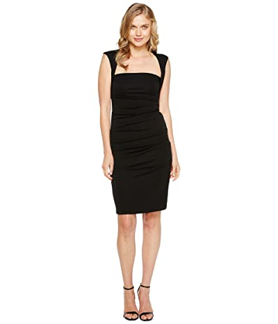 Nicole Miller Sleeveless Jersey Tuck Dress (Black) Women