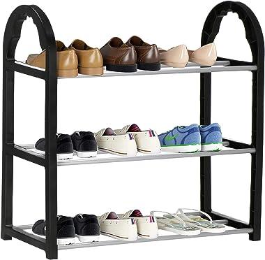 SPRINGOS Étagère à chaussures en métal à 3 étages - 47,5 x 49 x 19 cm - Empilable - Meuble à chaussures pour entrée - Constru
