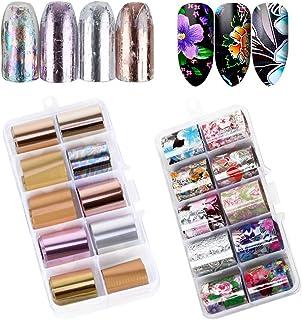 VINFUTUR Nail Art Foil, 20 Rollos Pegatinas Uñas Decorativas Nail Art Transfer Foil Nail Stickers Láminas para Manicuras Diseños DIY Uñas