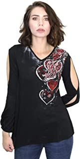 Womens from The Heart Bling with Slits V-Neck Long Sleeve