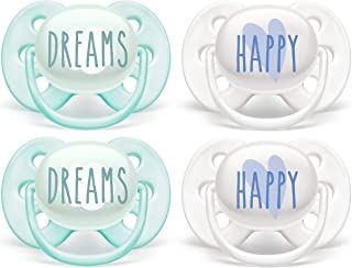 Philips AVENT Ultra Soft Pacifier, 0-6 Months, Dreams & Happy Designs, 4 Pack, SCF222/43,...