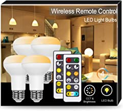 JandCase BR20 LED Bulb with Remote Control, Warm White &Cool White(2700k-6500k), 8W High Bright Light Bulbs (50W Equivalent), 550LM, E26 Medium Base Flood Light for Home/Office, Track Lighting, 4 Pack